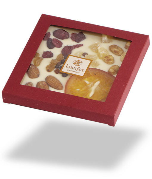 okoladna darila - Posuta bela čokolada s sadjem in oreščki - v škatlici