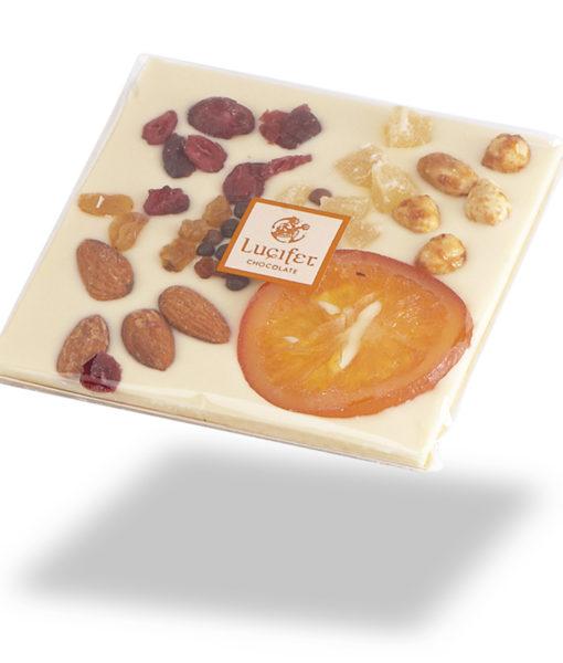 Čokoladna darila - Posuta bela čokolada s sadjem in oreščki