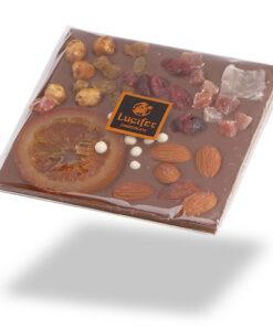 Čokoladna darila - Posuta mlečna čokolada s sadjem in oreščki