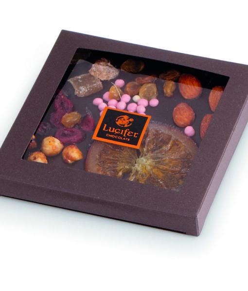 Čokoladna darila - Posuta temna čokolada s sadjem in oreščki - v škatlici