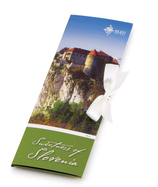 Slovenska temna čokolada Čokoladno pismo Sweetness of Slovenia - Blejski grad