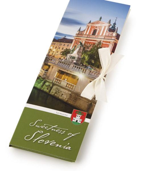 Slovenska temna čokolada Čokoladno pismo Sweetness of Slovenia - Ljubljana Tromostovje
