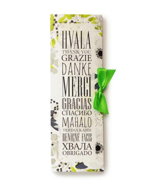 Čokoladno pismo iz fine temne čokolade v ovitku HVALA