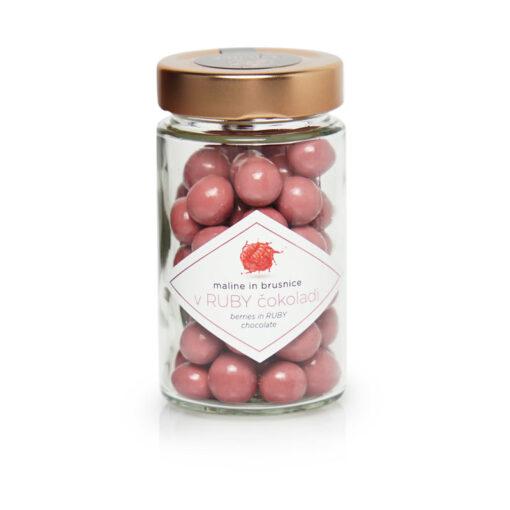 Čokoladne kroglice - Maline in brusnice oblite z ruby čokolado, 125 g